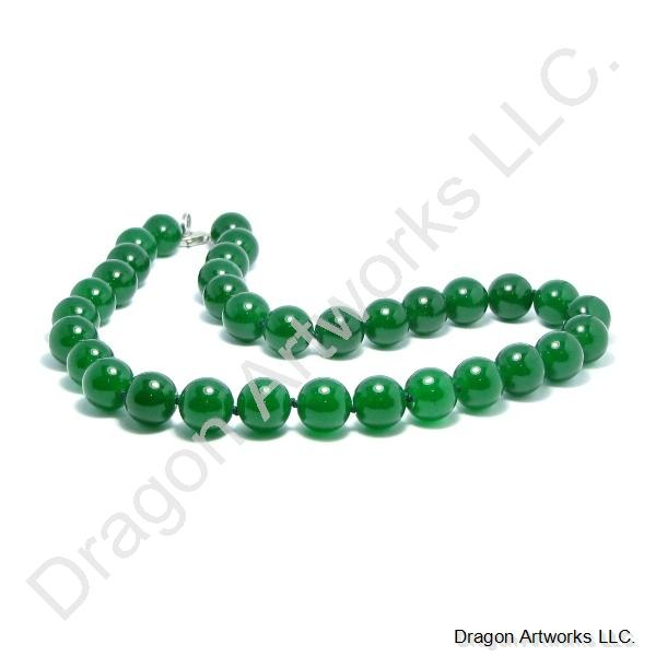 Chinese Green Beaded Jade Necklace