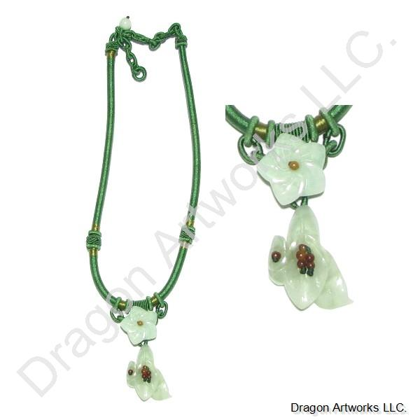 Carved Jade Flower Necklace for an Angel