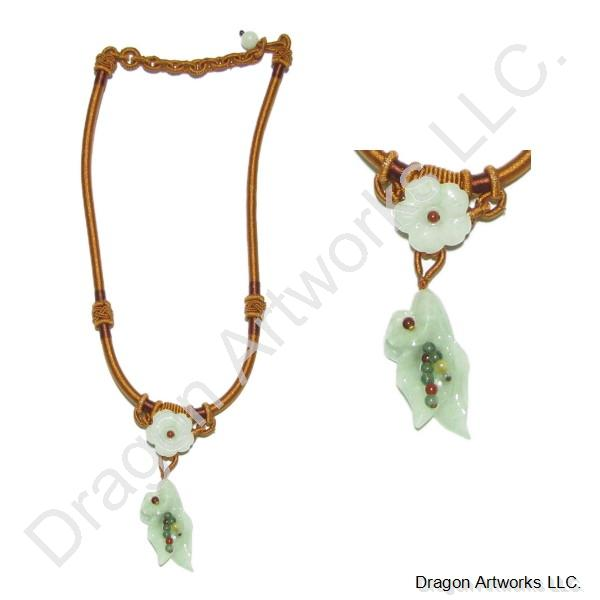 Carved Jade Flower Necklace of Prosperity