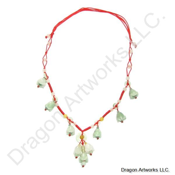 Chinese Carved Jade Necklace of Youthful Energy