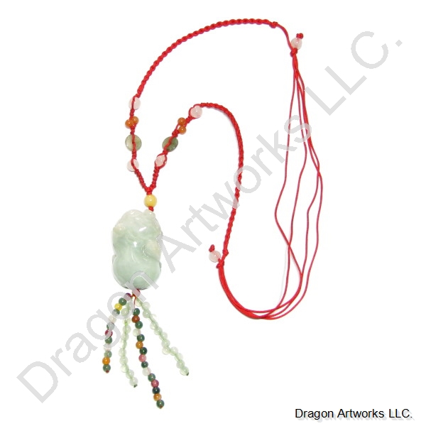 Chinese Carved Jade Beads Money Pig Necklace