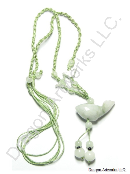 Carved Jade Fish Pendant Necklace