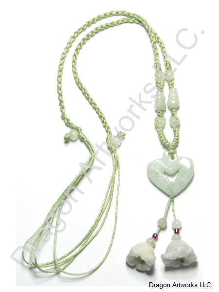 Carved Jade Heart Pendant of Love