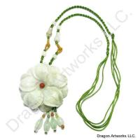 Carved Jade Flower Necklace With Adjustable Cord