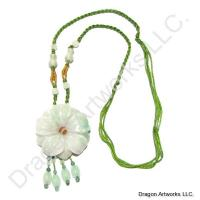 Carved Jade Blooming Flower Necklace
