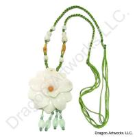 Carved Jade Flower Necklace of Longevity