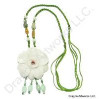 Chinese Happy Marriage Carved Jade Flower Necklace