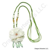 Gorgeous Carved Jade Flower Necklace