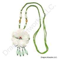 Lovely Chinese Carved Jade Flower Necklace