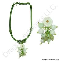Chinese Jade Flower Necklace of Charm