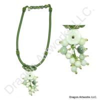 Delicate Carved Jade Flower Beads Necklace