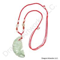 Chinese Carved Jade Fish Necklace