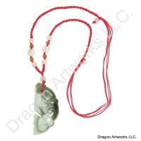 Money Talisman Carved Jade Fish Necklace