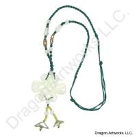Chinese Carved Jade Knot Necklace of Peace