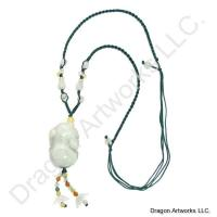 Chinese Carved Jade Necklace of Wisdom